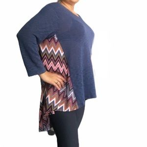 Eye shadow Blue and colorful print long sleeve top